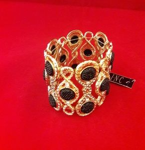 I.N.C Gold-Tone Black Stone Stretch Bracelet